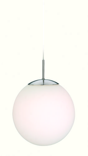 Firstlight 3303BS Brushed Steel with Opal White Glass Globe Pendant